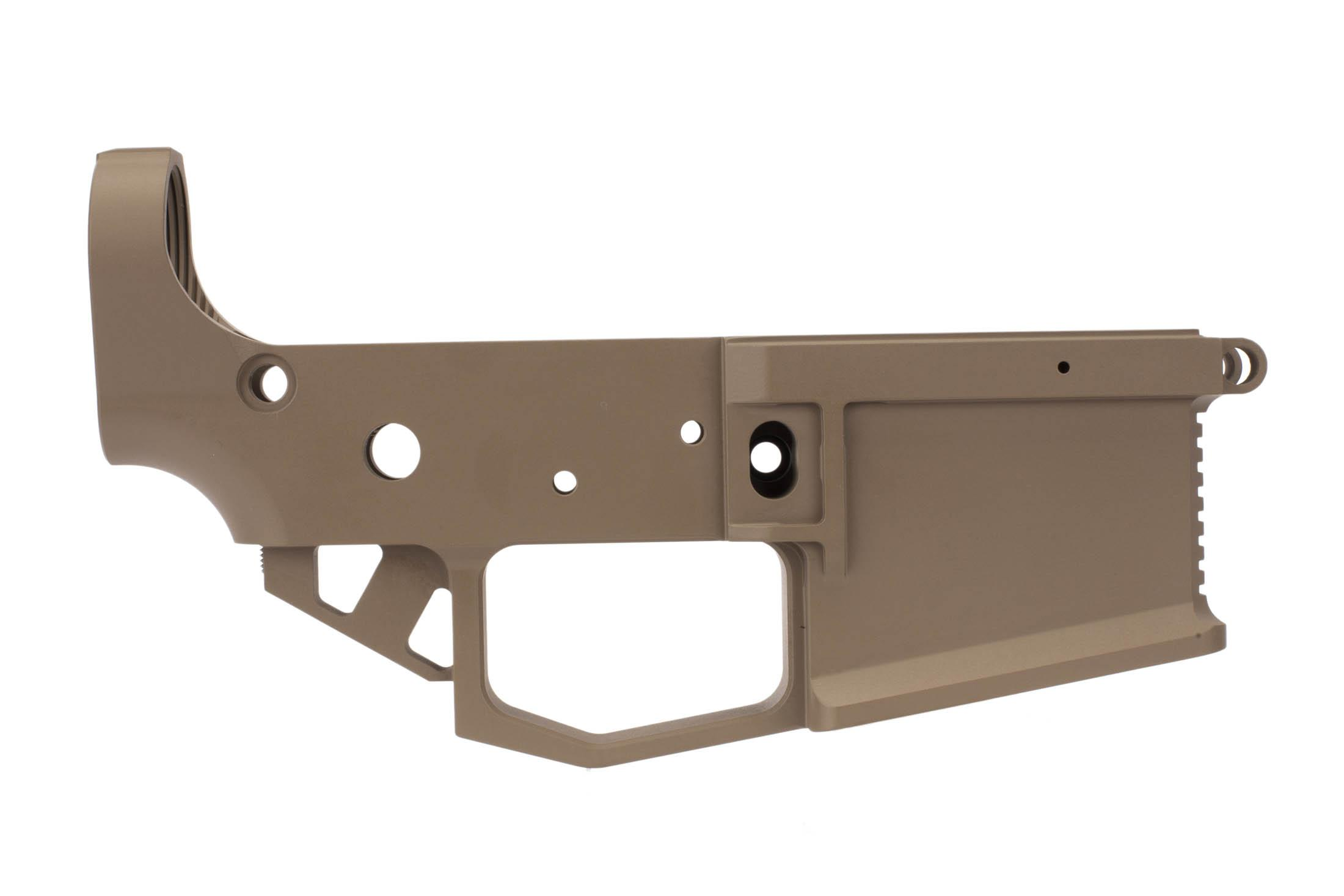 Rise Armament STRIKER billet AR-15 lower receiver in Flat Dark Earth has an integral extended trigger guard