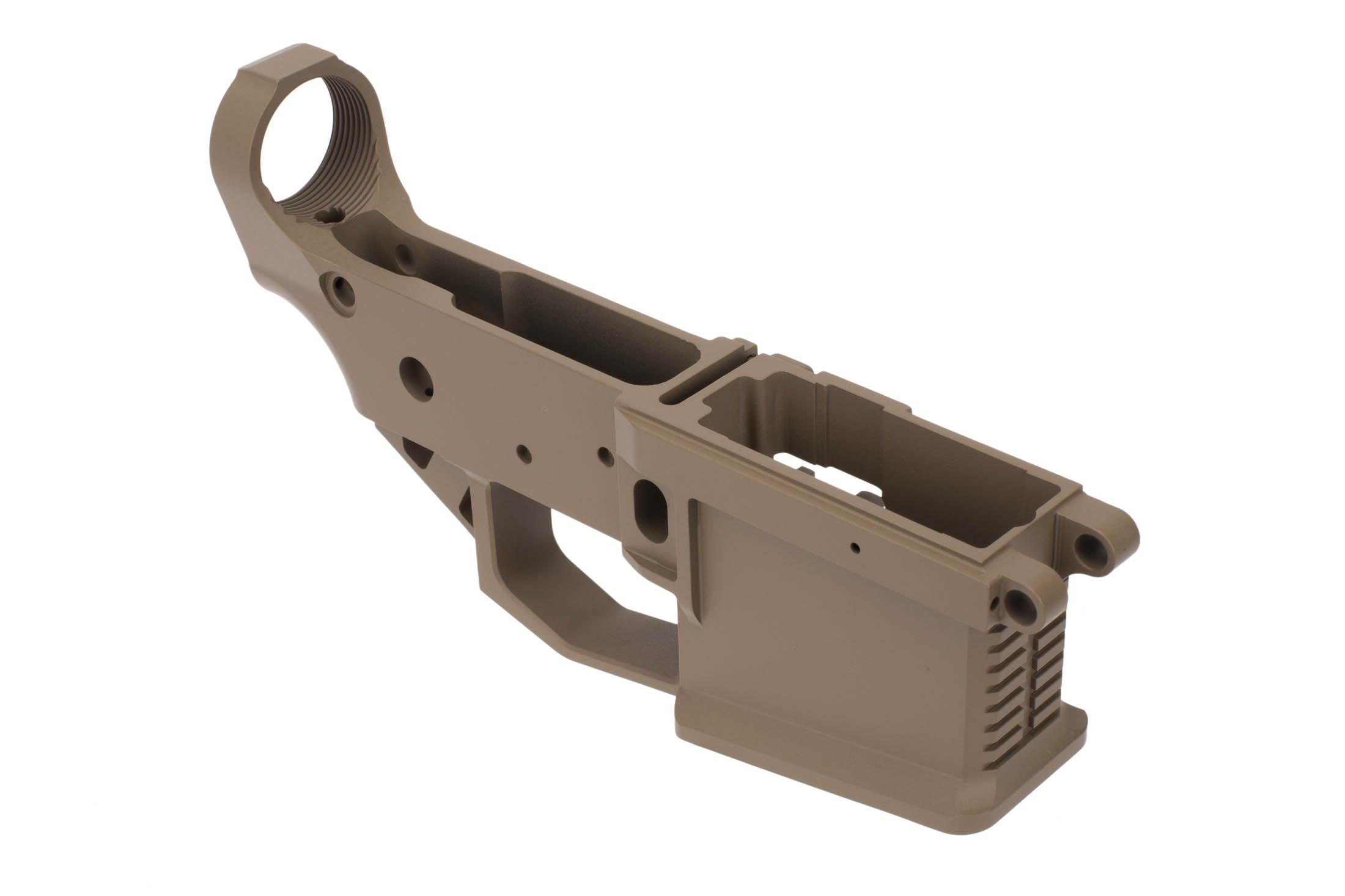Rise Armament STRIKER billet AR-15 lower receiver in Flat Dark Earth with beveled magazine well.