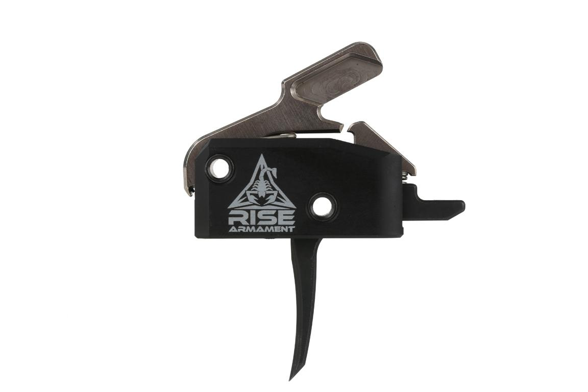 The Rise Armament High Performance AR15 AR10 Single Stage Trigger is hard coat anodized black