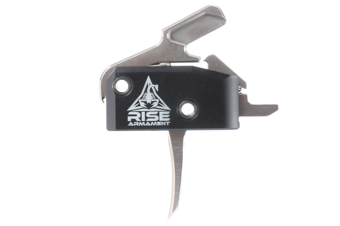 The Rise Armament High Performance AR15 AR10 Single Stage Trigger has a silver lightened hammer and internals