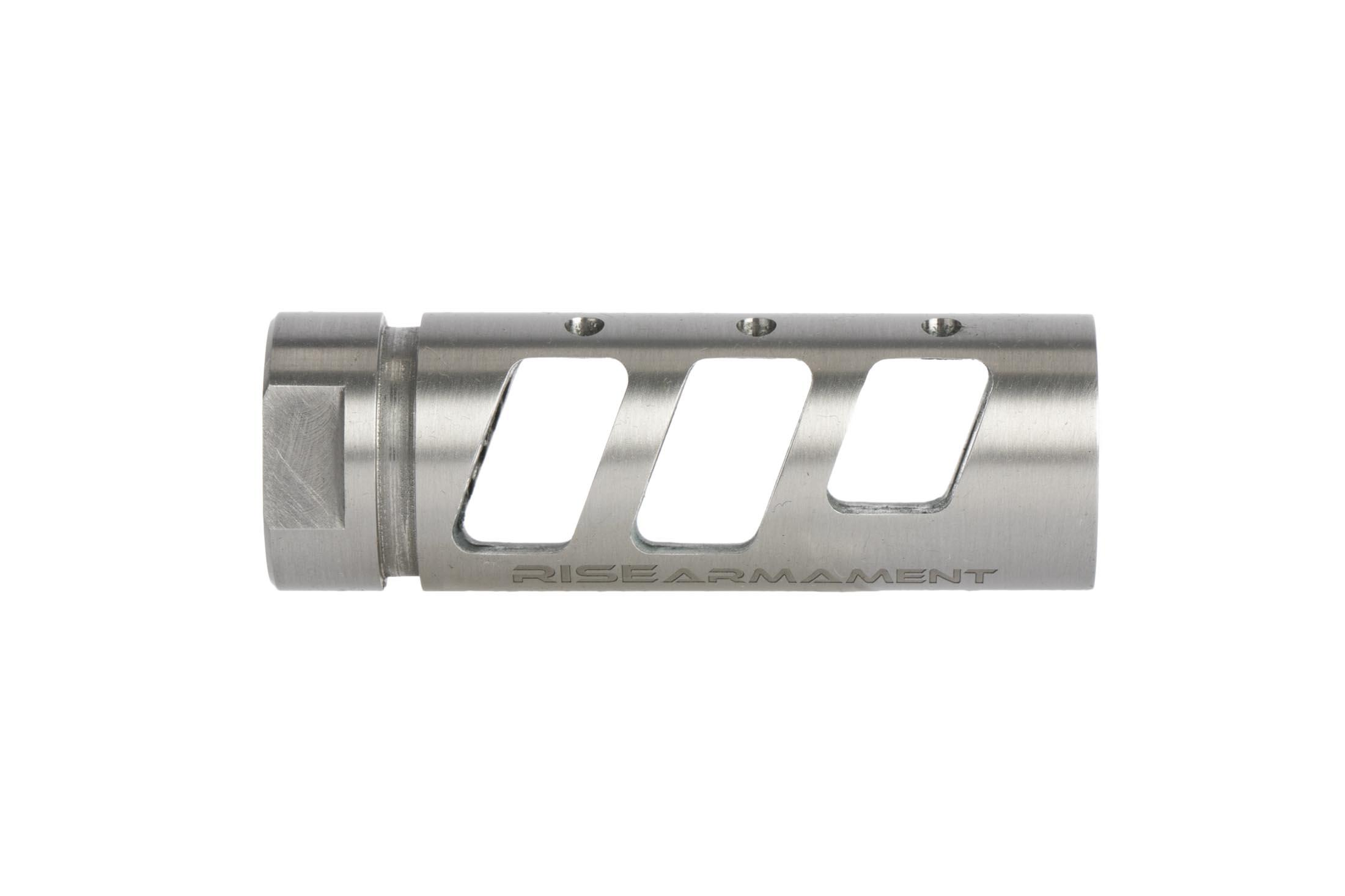 Rise Armament AR 15 compensator with shiny stainless finish is an effective three-chamber compensator