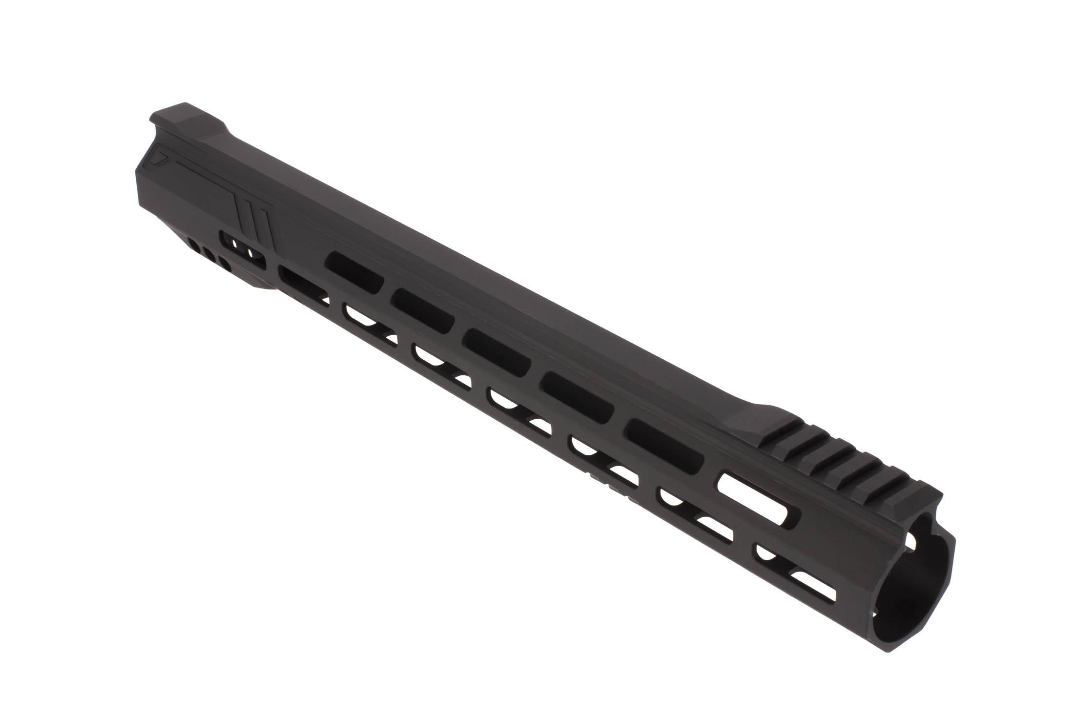 The RISE Armament 15in Stinger Slimline M-LOK Handguard is hardcoat anodized black to Military specifications.