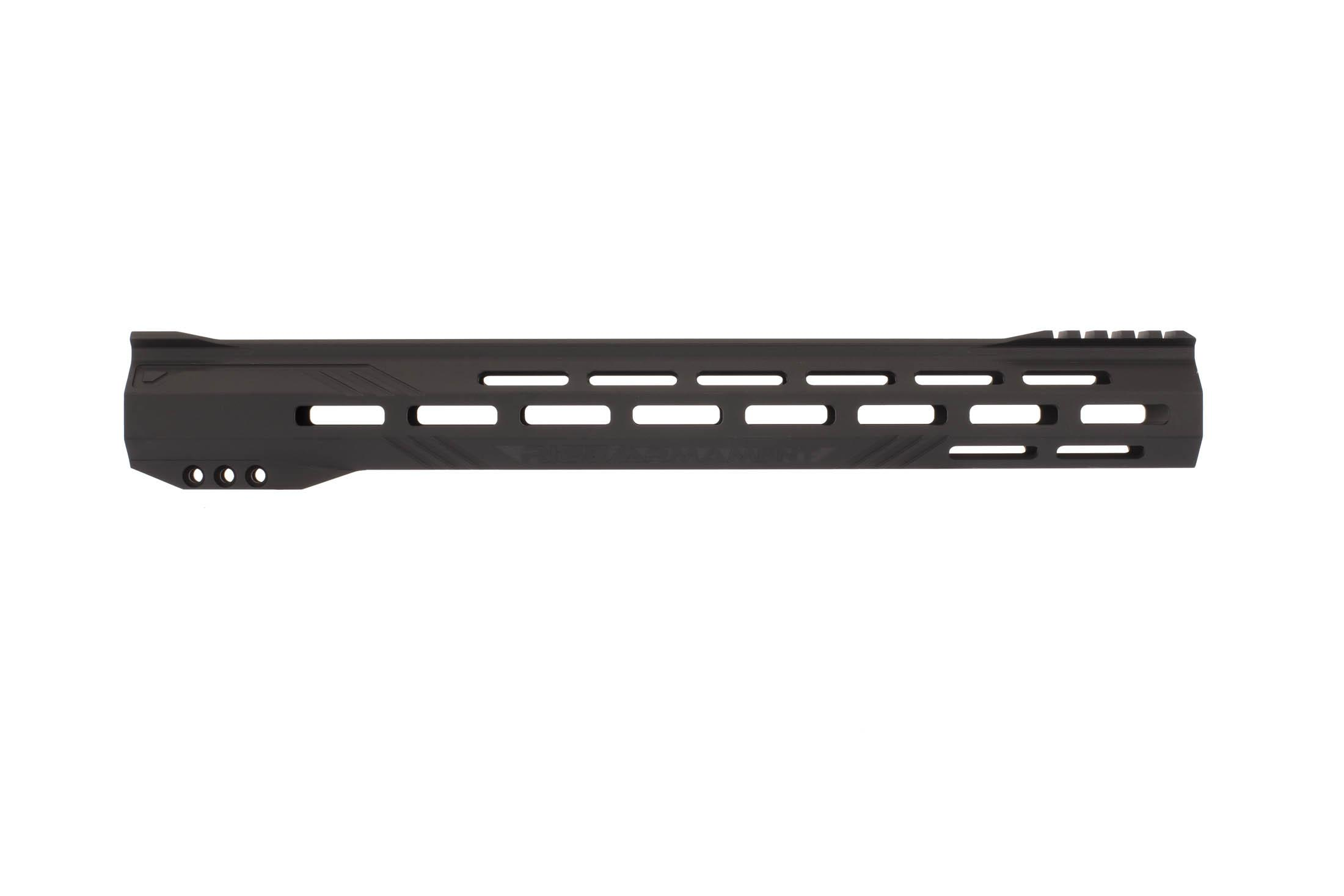 The RISE Armament 15in Stinger Slimline Handguard has an integrated 5-slot picatinny rail at the 12 o'clock position.