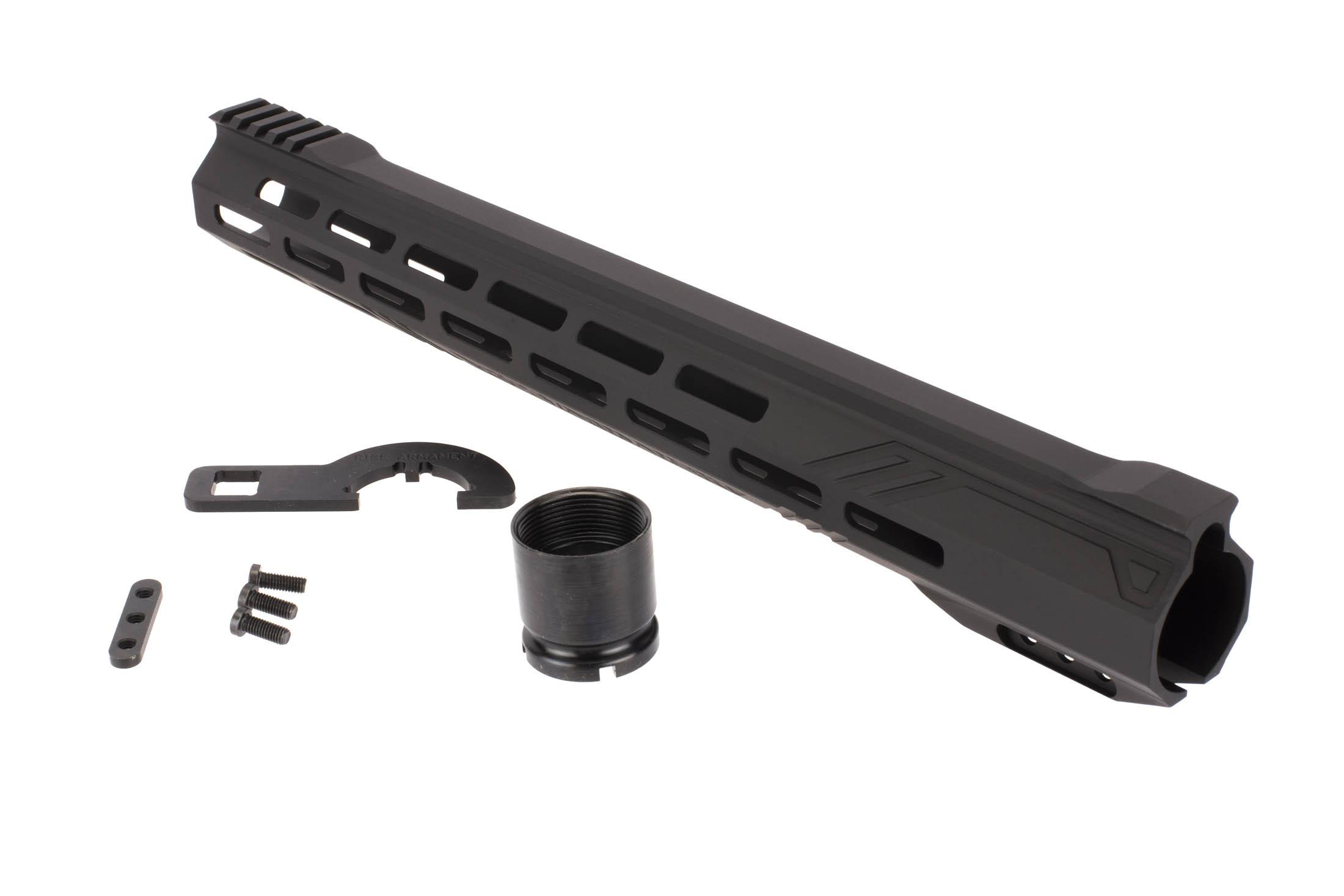 The RISE Armament 15in Stinger Slimline M-LOK Handguard is machined from 6061-T6 aluminum billet.