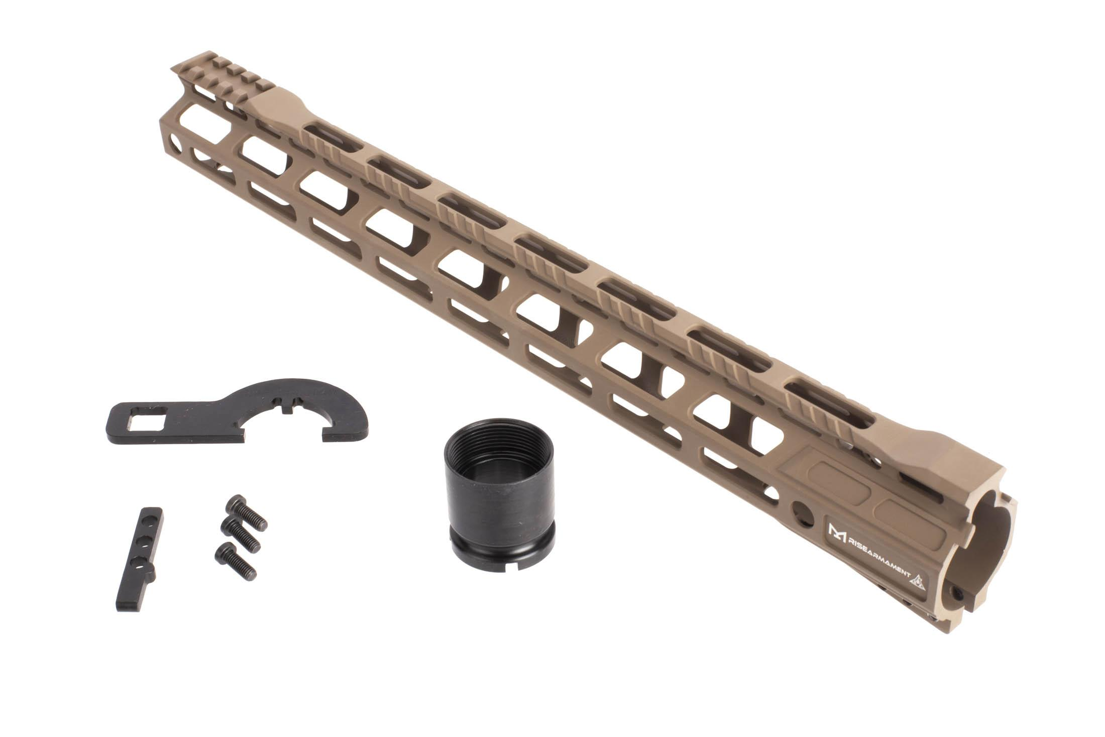 Rise Armament 15in flat dark earth free float lightweight AR 15 handguard includes mounting hardware and barrel nut