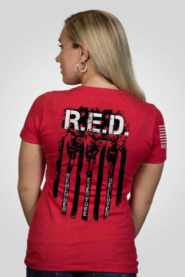 Nine Line R.E.D. Back Flag Short Sleeve Women's T-Shirt in red from back