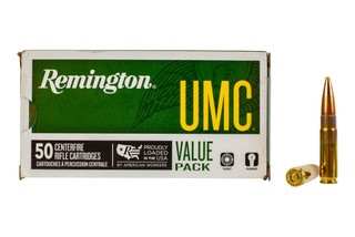 Remington UMC 300 Blackout ammunition loaded with 120-grain open tip flat base bullets in a 50-round box.