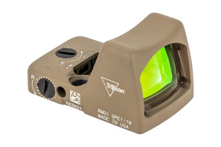 Trijicon RMR Type 2 Adjustable LED Reflex sight features a 3.25 MOA reticle and flat dark earth cerakote finish