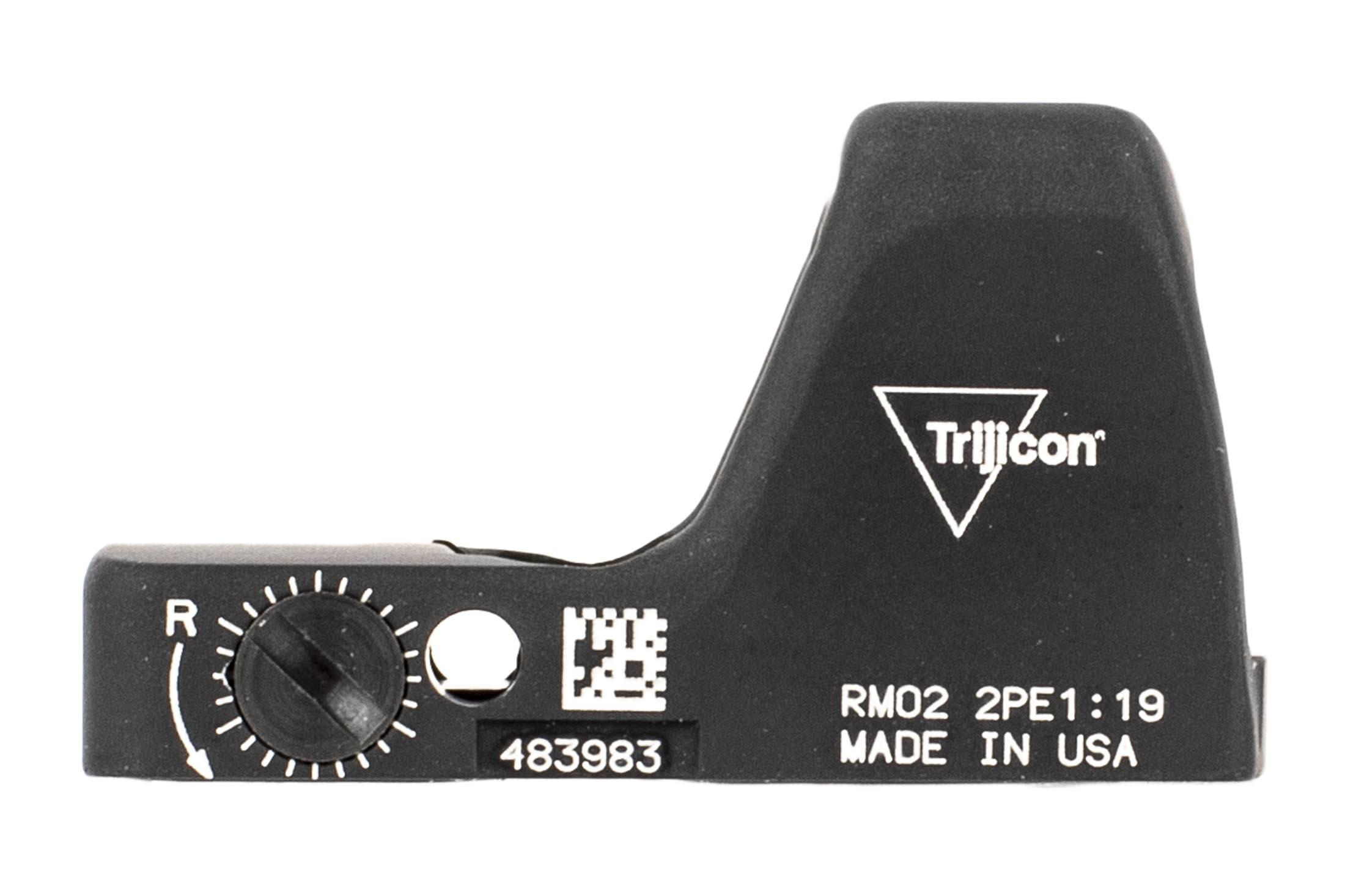 Trijicon Type 2 RMR with Adjustable 6.5 MOA reticle features easy to use side mounted controls and an black finish