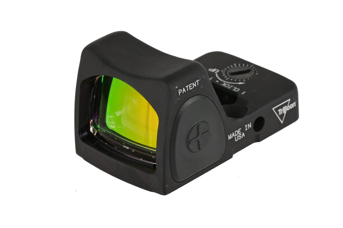 The Trjicon RMR Type II Reflex sight features large rubber side buttons for adjusting LED brightness