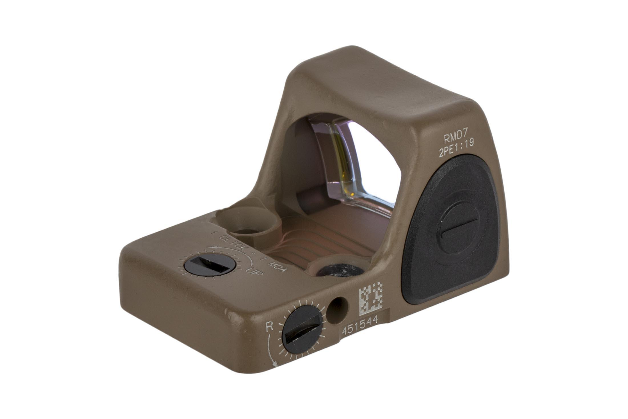 Trijicon FDE 6.5 MOA adjustable RMR Type 2 reflex sight features repeatable 1 MOA click adjustments