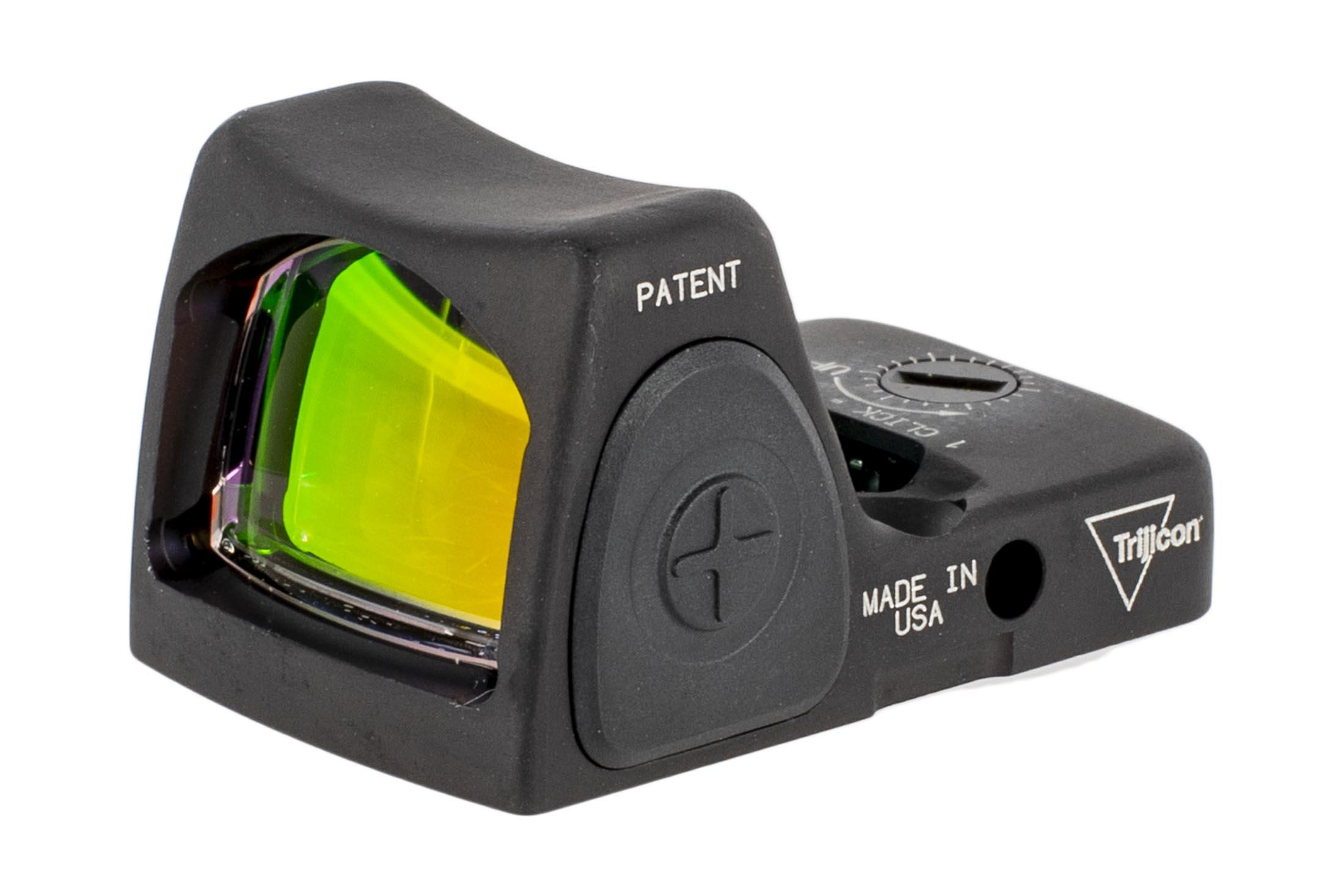 The Trjicon RMR Type II 1 MOA Reflex sight features large rubber side buttons for adjusting LED brightness