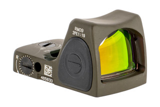 The Trijicon RMR Type 2 adjustable LED reflex sight features a 1 MOA red dot and olive drab green finish