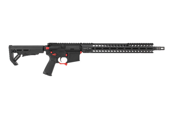 Strike Industries Sentinel Elite 223 wylde ar15 rifle features red accent components