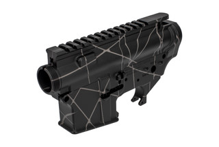 The Shellback Supply ar15 receiver set features a black and gray anodized splash pattern finish