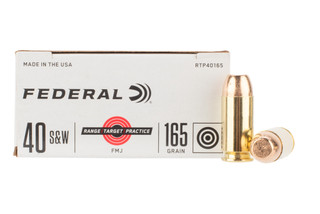Federal Range & Target 40 S&W 165gr FMJ Ammo features brass casing