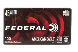 Federal RTP .45 ACP 230gr FMJ ammo features a lead core with brass casing