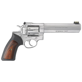 "The Ruger GP100 Double Action 7 Round Revolver in 357 Magnum with 6"" Barrel, Engraved Wood Grips and Satin Stainless is a fantastic easy to shoot revolver."
