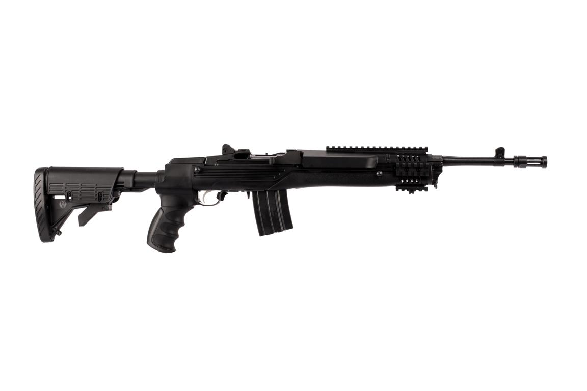 The Ruger Mini 14 Tactical rifle is chambered in 5.56 NATO and features a collapsible stock