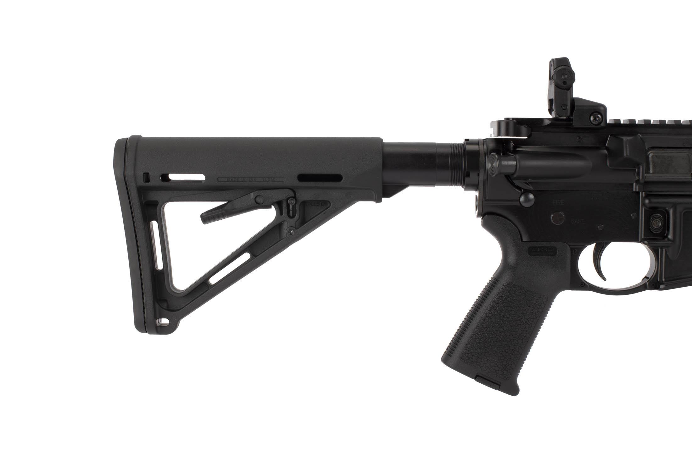 Ruger's AR-556 is factory equipped with Magpul MOE pistol grip and MIL-SPEC MOE collapsible stock