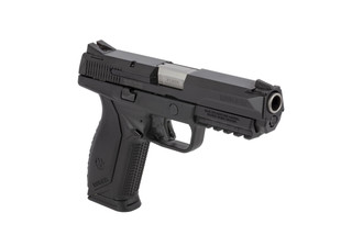 Ruger American full-size .45 ACP handgun features a 4.5in barrel, replaceable backstrap for comfort, and full accessory rail