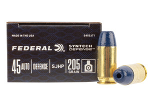 Federal Syntech 45 ACP synthetic hollow point ammo in a box of 20 rounds