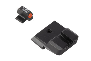 Trijicon HD Night Sights for Smith & Wesson M&P pistols feature a photoluminescent orange ring around the front lamp with blacked out rear lamps.