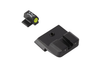Trijicon HD Night Sights for Smith & Wesson M&P pistols feature a photoluminescent yellow ring around the front lamp with blacked out rear lamps.