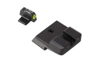 Trijicon HD XR S&W night sights feature a blacked out rear sight with wide U-notch and hi-vis yellow front sight with tritium inserts.
