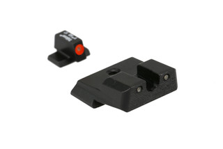 The Trijicon HD XR night sights for Smith and Wesson M&P handgun features green tritium inserts and an orange front dot