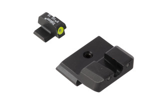 Trijicon HD XR S&W Shield night sights feature a blacked out rear sight with wide U-notch and hi-vis yellow front sight with tritium inserts.