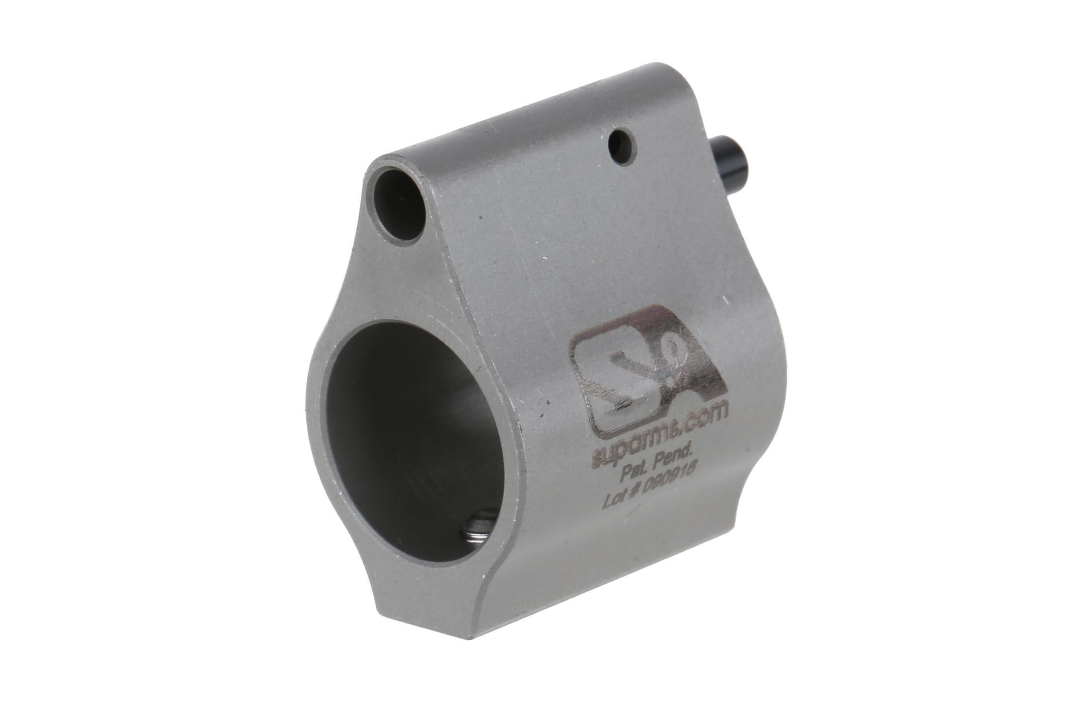The Superlative Arms bleed off adjustable gas block is machined from 416 stainless steel with a matte finish