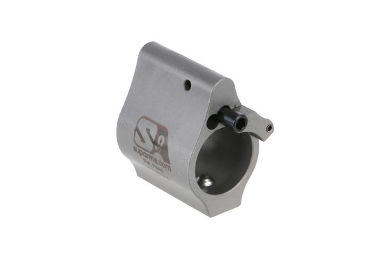 The Superlative Arms adjustable AR15 gas block has a gas port for excess gas to vent