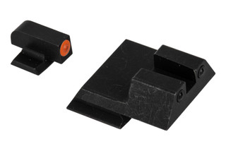 Night Fission Glow Dome M&P Shield night sight set features a square rear and orange front