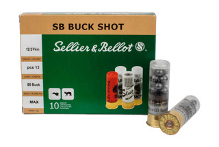 "Sellier & Bellot 2 3/4"" 12 gauge 00 Buck ammunition is a low brass hunting round with 10 shells per box."
