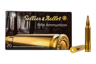 Sellier & Bellot .223 Remington ammunition loaded with 55-grain soft points for hunting available in 20 round boxes.
