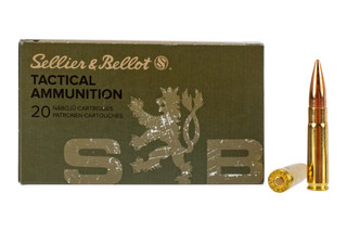 Sellier & Bellot 300 Blackout 147 grain full metal jacket ammo for target and training in 20-round boxes.