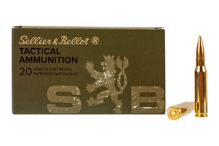 Sellier & Bellot 308 Winchester 147 grain full metal jacket ammo for target and training in 20-round boxes.