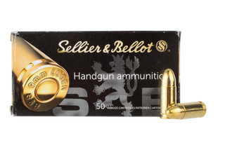 Sellier and Bellot 9mm Luger FMJ ammo features a 124 grain bullet