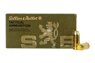 Sellier & Bellot subsonic 9mm Luger 140 grain FMJ ammo for target and training in 50-round boxes.