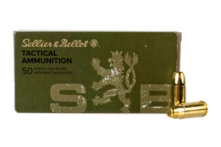 Sellier & Bellot subsonic 9mm Luger 150 grain FMJ ammo for target and training in 50-round boxes.