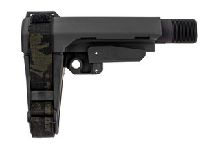 SBA3 Pistol arm brace with black Multicam arm strap is exclusive to Primary Arms