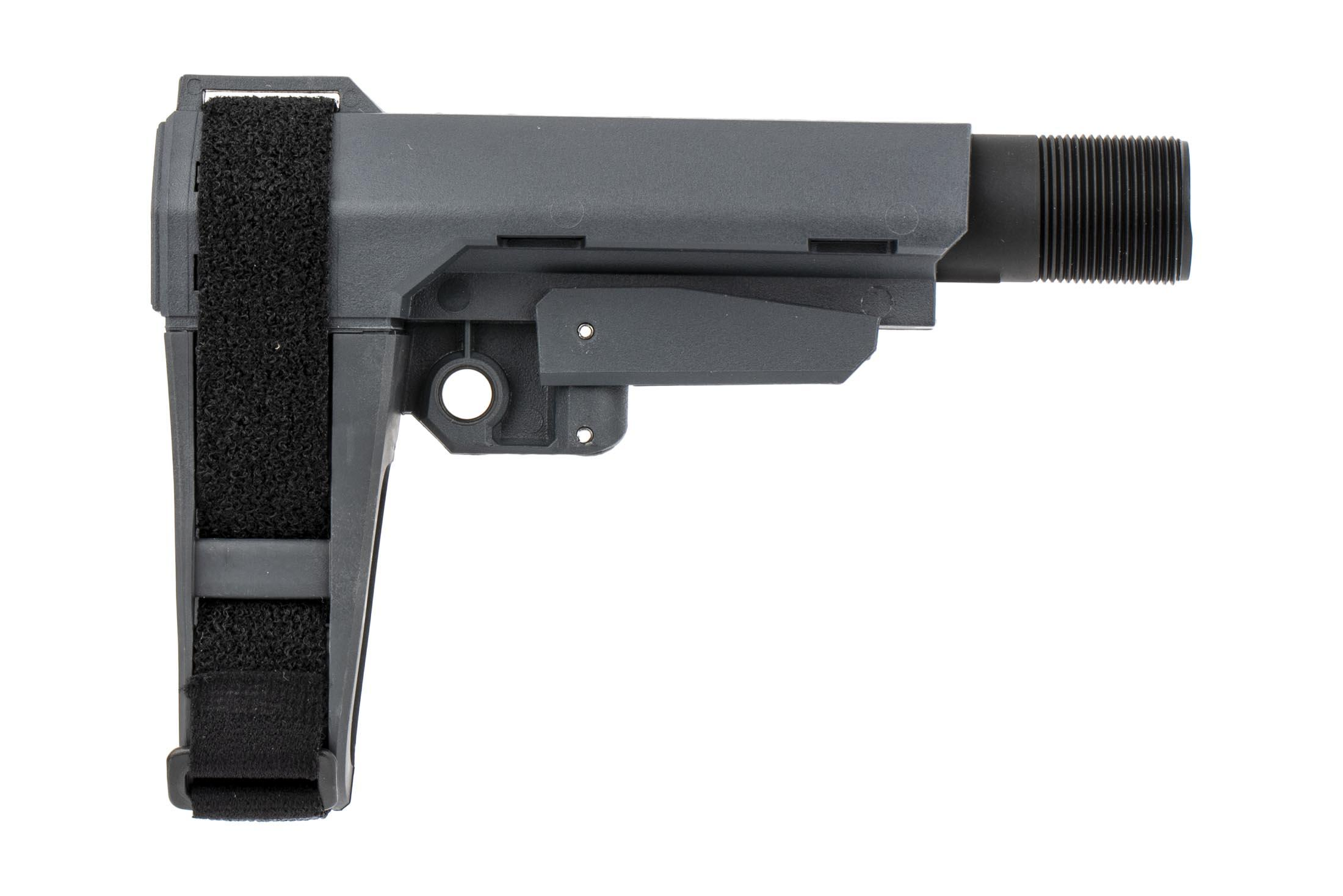 The SB Tactical SBA3 pistol brace features a stealth grey polymer and rubber construction