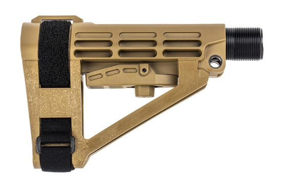 The SB Tactical SBA4 Pistol Stabilizing Brace features a flat dark earth color