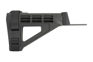 SB Tactical black AK pistol stabilizinSB Tactical black AK pistol stabilizing brace mounts to your forearm for stable and accg brace mounts to your forearm for stable and accurate one handed shooting