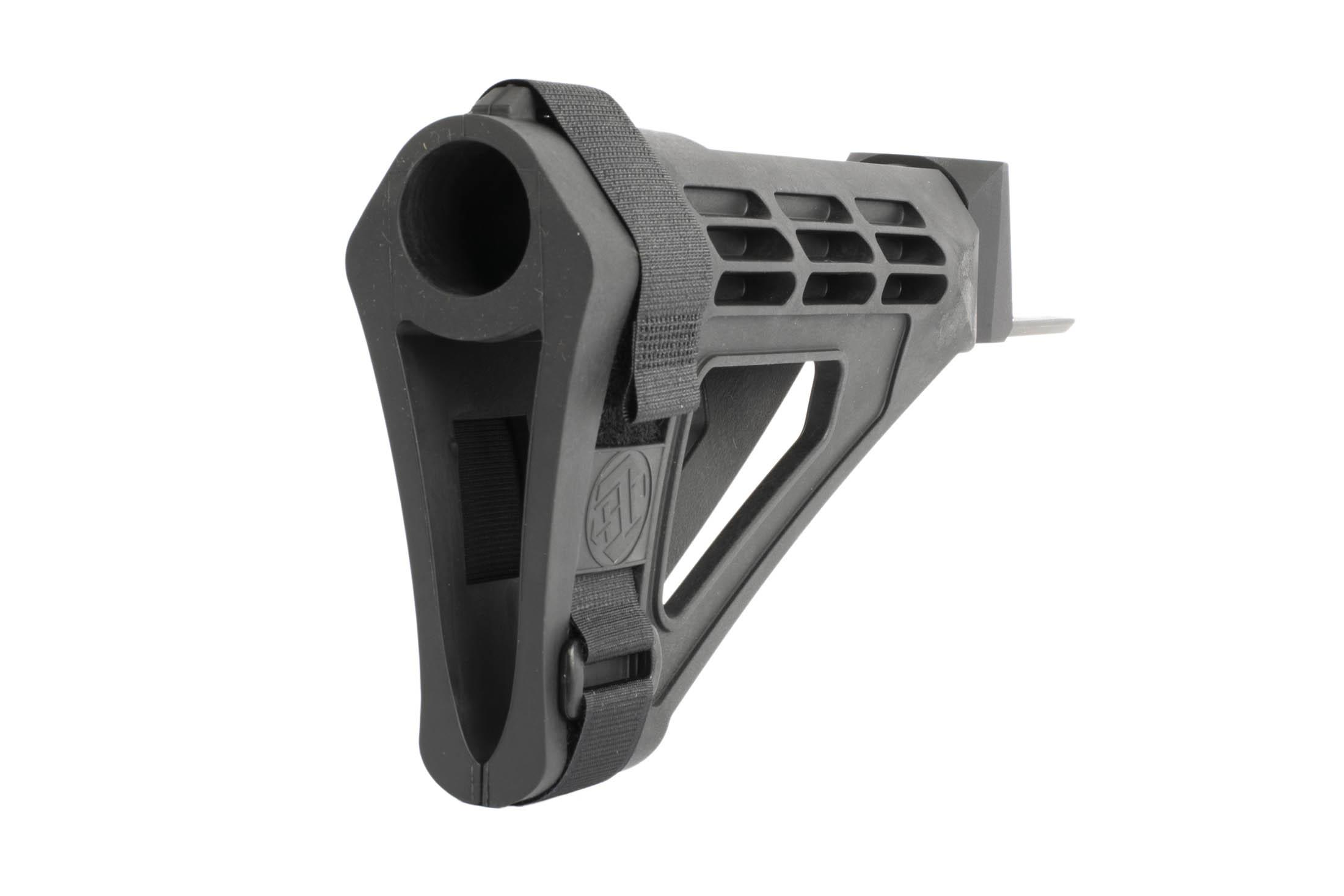 SB Tactical black pistol stabilizing brace has an adjustable strap to perfectly fit the needs of any shooter