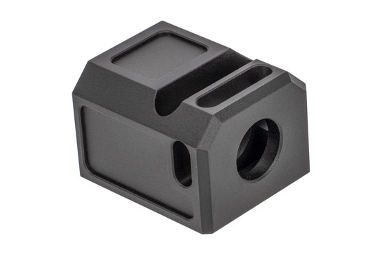 Primary Machine 9mm Stealth Comp for Glock handguns with 1/2x28 threaded barrels is black anodized