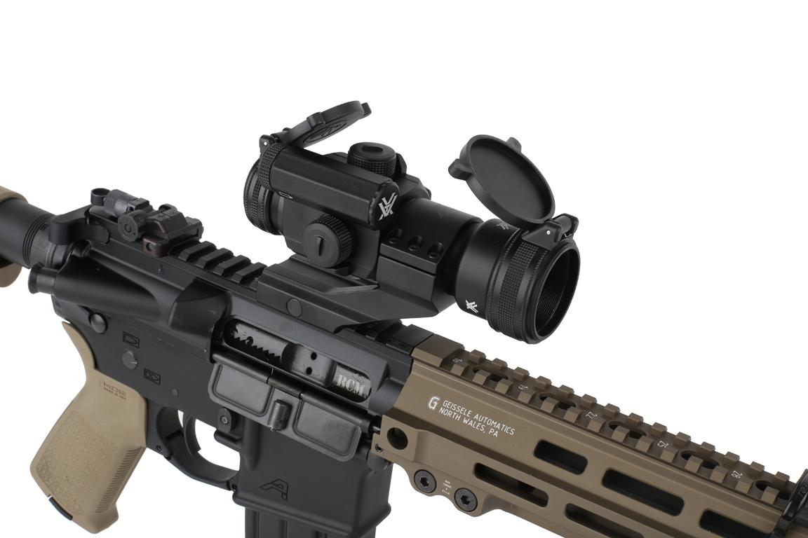 The red dot sight strikefire 2 by vortex optics with cantilever mount attached to an ar15