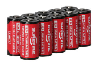 The SureFire CR123A Lithium Batteries pack of ten features a 10 year shelf life