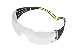 The Peltor Sport SecureFit 400 safety glasses with clear lenses are low profile for use with ear muffs